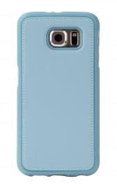 Samsung S6 Deri Görünümlü Mavi Kılıf