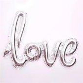 1 Adet Gümüş Gri Love İmzalı Folyo Balon 70cm X 36cm