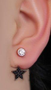 925 Ayar Gümüş Yıldız Ear Jacket Küpe