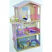 Mentari Ahşap Eğitici Balkonlu Bebek Evi