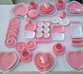 Keramika Pembe Kalp Kahvaltı Takımı