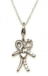925 Ayar Gümüş Birlikte Atan Kalp Kolye, Beyaz Beyaz Taş