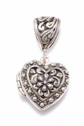 925 Ayar Gümüş Açılır Kalp Modeli Telkari Kolye Ucu
