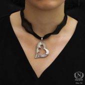925 Ayar Gümüş Rodajlı Kalp Modeli Kolye Ucu