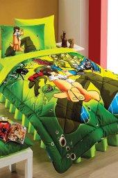 Kupon Tek Kişilik 2 Li Microfiber Heroes Yeşil Desenli Yorgan