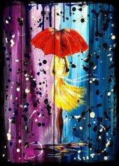 Yağmur Kız Şemsiye Ahşap Eskitme Tablo Ev,cafe,ofi...