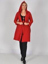 Nidya Moda Büyük Beden Kapşonlu Kuşaklı Kırmızı Ceket Tunik 1016sk