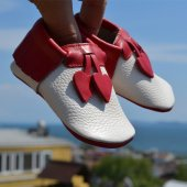Kalpli Makosen Bebek Ayakkabı Kımızı Bej Cv 105