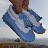 Bella Makosen Tabanlı Bebek Ayakkabı Mavi Beyaz Cv 412