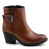Tofima 9140 Taba 6 Cm Topuk Fermuarlı Bayan Cilt Bot Ayakkabı