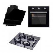 Luxell Black Sharp Manuel 3&#039 Lü Siyah Ankastre Set