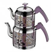 Inter Çelik Sahra Mini Boy Lila Dekorlu Çelik Çaydanlık