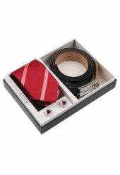 Kırmızı Kravat Kemer Kol Düğmesi Erkek Hediye Seti Kkk121