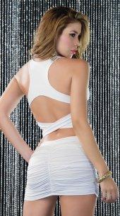 Beyaz Arkası Çapraz Şık Elbise