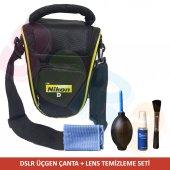 Nikon D5200 Fotoğraf Makinesi Üçgen Çanta + Temizl...