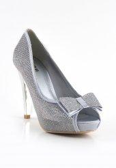 Joly Gümüş Fiyonklu Platform Topuk Bayan Ayakkabı