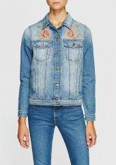 Mavi Katy Bronze Rose Embro Kadın Jean Ceket