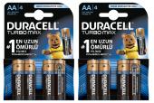 Duracell Turbo Max Aa Kalem Pil 4lü 2 Paket (8 Adet)