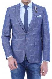 Yarım Astar Sivri Yaka Mavi Ceket