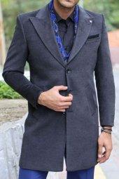 Geniş Yaka Diz Üstü Füme Palto