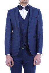 Ceket Desenli Yelekli Koyu Mavi Damatlık