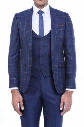 Ceket Ekose Yelek Pantolon Düz Yelekli Koyu Mavi Takım Elbise