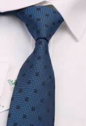 Mavi Motif Desen Slim Kravat 6534