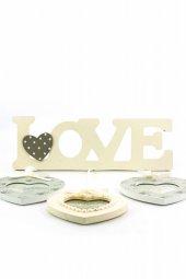 Decotown Love Yazılı 3lü Kalp Ahşap Fotoğraf Çerçevesi