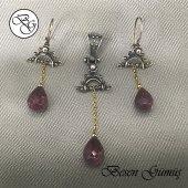 Besen Gümüş Özel Tasarım Yakut Taşlı Sallantılı Gümüş Set