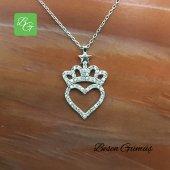 Besen Gümüş Yıldızlı Kraliçe Tacı Kalpli Kolye