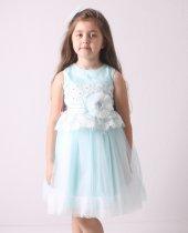 Kız Çocuk Abiye Elbise Tüllü, Kuşağı Çiçek Desenli