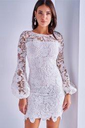 Kadın Beyaz Güpür Mini Elbise