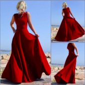 Kadın Kırmızı Kolsuz Abiye Uzun Elbise