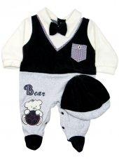 Pearly Baby Ayıcıklı Kadife Bebek Tulum 0 3 6 9 Ay