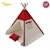 Fidukkan Çocuk Oyun Çadırı %100 Pamuklu Kumaş Ahşap İskelet Pencereli Kızılderili Oyun Çadırı