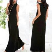 Kadın Sandy Siyah Kolsuz Uzun Elbise
