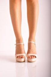 Bayan Abiye Topuklu Ayakkabı 124 Pudra Cilt