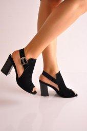 Bayan Günlük Topuklu Ayakkabı 60 Siyah Süyet Platin2