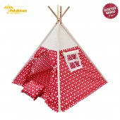 Fidukkan Çocuk Oyun Çadırı %100 Pamuklu Kumaş Ahşap İskelet Pencereli Kızılderili Oyun Çadırı Kırmızı