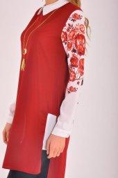 Bayan Kırmızı Çiçekli Tunik