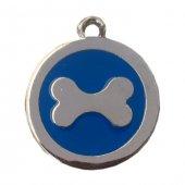 Kemik Desenli Kedi Köpek İsimlik Aksesuar 2,5 Cm Mavi
