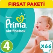 Prima Bebek Bezi No 4 Beden (8 14 Kg) 66 Adet Fırsat Paketi