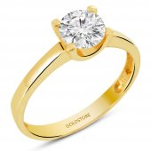 Goldstore 14 Ayar Altın Tek Taş Yüzük Grs8093