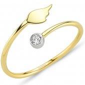 Goldstore 14 Ayar Altın Taşlı Kanat Yüzük Grf40211
