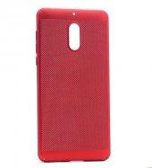 Nokia 3 Kılıf Mesh Delikli Sert Kapak Kırmızı + Ekran Koruyucu Temperli Cam