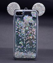Iphone 6s Plus Mickey Silikon Arka Kapak Beyaz + Ekran Koruyucu Temperli Cam