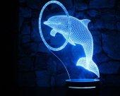 16 Renk Uzaktan Kumandalı 3d Yunus Balığı Led Gece Masa Lambası