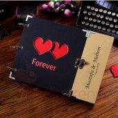 Sevgiliye İsme Özel Çift Kalpli Fotoğraf Albümü Düğün Albümü