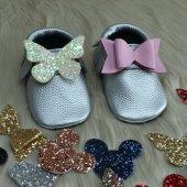 çıt Çıtlı Makosen Tabanlı Bebek Ayakkabı Gümüş Cv 442