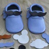 çıt Çıtlı Makosen Tabanlı Bebek Ayakkabı Mavi Cv 446